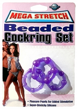 Mega Stretch Beaded Cock Ring Set Purple