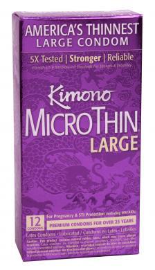 Kimono Microthin 12 Pack Large Latex Condoms