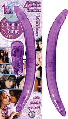 Vibrating Bendable Double Dong - Purple