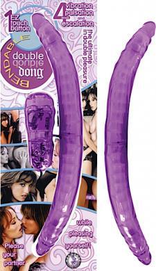 Vibrating Bendable Double Dong - Purple