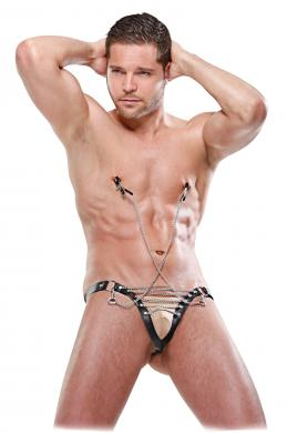Male Chain Gang Thong Nipple Clamps S/M
