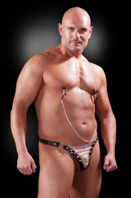 Male Chain Gang Thong Nipple Clamps L/XL