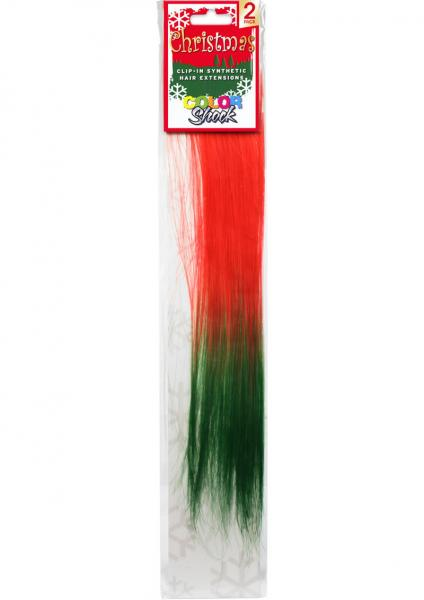 Hair Clip In Extension Xmas Red Green Tail