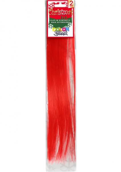 Hair Clip In Extension Xmas Red