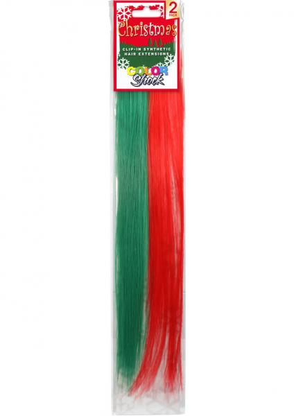 Hair Clip In Extension Xmas Red And Green
