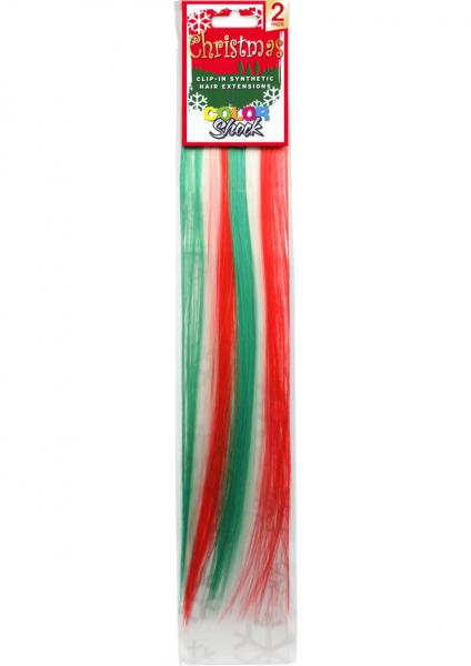 Hair Clip In Extension Xmas Stripes